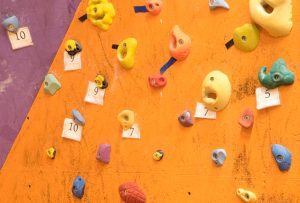 bouldering wall with numbers-1