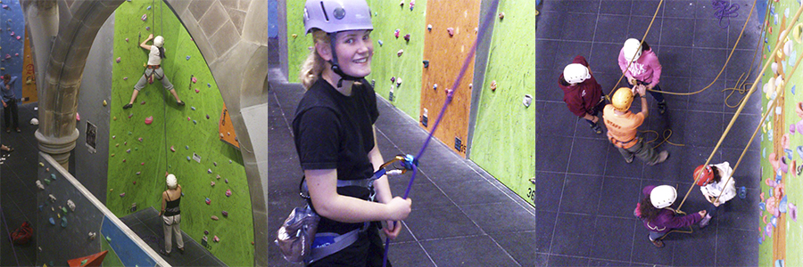 Monage of young people climbing at Alter Rock
