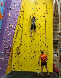 Beginner climbing short ropes at Alter Rock